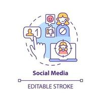 Social media concept icon. Cyberbullying channel idea thin line illustration. Hurtful messages. Posting embarrassing information. Vector isolated outline RGB color drawing. Editable stroke
