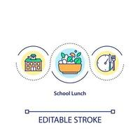School lunch concept icon. Healthy food creation for students. Cooking tasty and healthy meals idea thin line illustration. Vector isolated outline RGB color drawing. Editable stroke