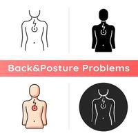 Chest pain icon. Affecting lungs and heart. Poor posture consequence. Problems in breathing patterns. Muscle tightness. Linear black and RGB color styles. Isolated vector illustrations