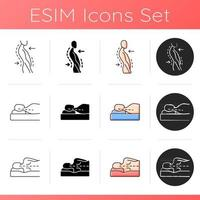 Poor posture problems icons set. Swayback posture. Correct sleeping position for reducing neck. Postural deformity. Side-lying pose. Linear, black and RGB color styles. Isolated vector illustrations