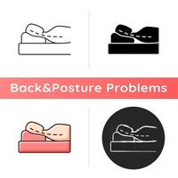 Sleeping with head elevated icon. Worsening chronic neck pain and stiffness. Scoliosis. Incorrect sleeping position. Nerve compression. Linear black and RGB color styles. Isolated vector illustrations