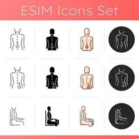 Bad posture problems icons set. Lower back pain. Muscles stress. Sprains and strains. Unnatural sitting position. Hip pain. Linear, black and RGB color styles. Isolated vector illustrations