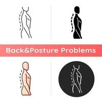 Standing posture correction icon. Improving upright position. Natural curvature. Shoulders parallel with hips. Strengthening core. Linear black and RGB color styles. Isolated vector illustrations
