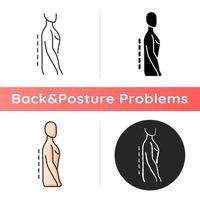 Flatback syndrome icon. Losing normal curvature. Spine straight. Affecting stance and gait. Degenerative disc disease. Linear black and RGB color styles. Isolated vector illustrations