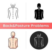 Neck pain icon. Nerve root compression. Cervical radiculitis. Pressure on spinal nerves. Muscle weakness. Straining from poor posture. Linear black and RGB color styles. Isolated vector illustrations