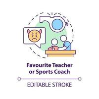 Favourite teacher and sports coach concept icon. Reporting cyberbullying idea thin line illustration. Contacting counselor and principal. Vector isolated outline RGB color drawing. Editable stroke
