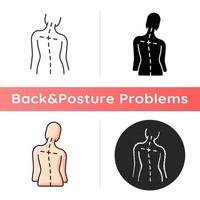 Uneven shoulders icon. Postural change. Difficulty walking. Back pain. Skeletal imbalances in body. Asymmetrical alignment. Linear black and RGB color styles. Isolated vector illustrations