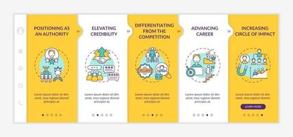 Personal branding tasks onboarding vector template. Responsive mobile website with icons. Web page walkthrough 5 step screens. Blogger career color concept with linear illustrations