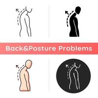 Thoracic kyphosis icon. Prominent shoulder blade. Spinal disorder. Roundback, hunchback. Increased front-to-back curve. Linear black and RGB color styles. Isolated vector illustrations