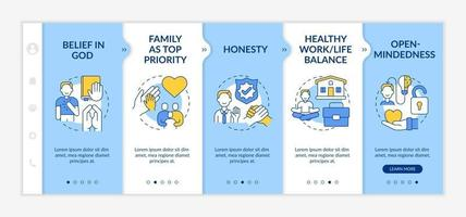 Personal morals onboarding vector template. Responsive mobile website with icons. Web page walkthrough 5 step screens. Healthy work-life balance, belief in god color concept with linear illustrations