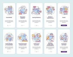 Cyberharassment sources onboarding mobile app page screen with concepts set. Reporting incidences walkthrough 5 steps graphic instructions. UI, UX, GUI vector template with linear color illustrations