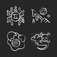 Infection spread source chalk white icons set on black background. Dangerous threat for human lives. Micro organisms risk. Insect toxin. Dangerous diseases. Isolated vector chalkboard illustrations