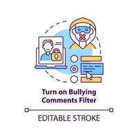 Turning on bullying comments filter concept icon. Cyberbullying prevention idea thin line illustration. Anti-bullying option on social media. Vector isolated outline RGB color drawing. Editable stroke
