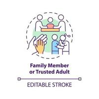 Family member and trusted adult concept icon. Reporting cyberbullying idea thin line illustration. Informing responsible adult. Vector isolated outline RGB color drawing. Editable stroke