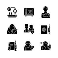 Covid vaccination black glyph icons set on white space. Pharmaceutical drug production and storage. Disease treatment. Health care and medicine. Silhouette symbols. Vector isolated illustration