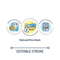 Reduced price meals concept icon. Making discounts in school caffeteria for students. Food preparing idea thin line illustration. Vector isolated outline RGB color drawing. Editable stroke