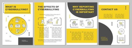Cyberbullying meaning brochure template. Reporting cyberharassment. Flyer, booklet, leaflet print, cover design with linear icons. Vector layouts for presentation, annual reports, advertisement pages