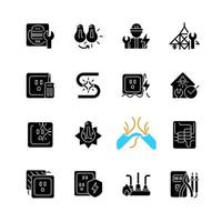 Electrician service black glyph icons set on white space. Changing lightbulb. Operating with electric devices, equipment. Appliance damage. Silhouette symbols. Vector isolated illustration