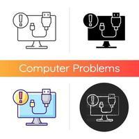 USB no funciona icono. Problema de conexión del cable. problema de la computadora de escritorio. enchufe en falla. servicio de soporte técnico para electrónica. Estilos lineales de color negro y rgb. ilustraciones vectoriales aisladas vector