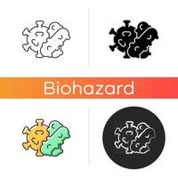 Bacteria and viruses icon. Viral infection cells that spread dangerous diseases and illnesses. Health care problems source. Linear black and RGB color styles. Isolated vector illustrations