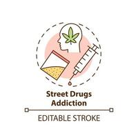Street drugs addiction concept icon. Addiction types. Illegal medicaments buying. Medical help abstract idea thin line illustration. Vector isolated outline color drawing. Editable stroke