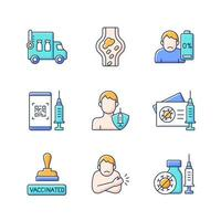 Covid passport RGB color icons set. Vaccination during virus pandemic. Blood clots side effect. Patient immunization. Pharmaceutical treatment. Health care and medicine. Isolated vector illustrations