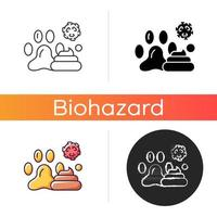 Animal waste icon. Source of transmitting infection. Spreading toxic particles. Biological risk. Dangerous diseases. Linear black and RGB color styles. Isolated vector illustrations