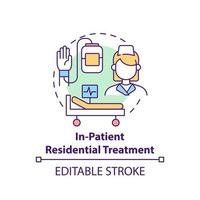 In patient residential treatment concept icon. Rehabilitation types. Medical help for patients. Illness abstract idea thin line illustration. Vector isolated outline color drawing. Editable stroke