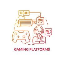 Gaming platforms concept icon. Cyberbullying channel idea thin line illustration. Harassing players with text messages. Awful gaming experience. Vector isolated outline RGB color drawing