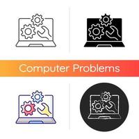 Computer repair service icon. Installing software on notebook. Upgrading system. Tech support for electronics. Laptop problems. Linear black and RGB color styles. Isolated vector illustrations