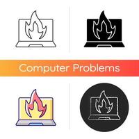 Computer burning icon. Hardware crash, overheating issue. Burning laptop, PC problems. Electronics destruction. Broken technology. Linear black and RGB color styles. Isolated vector illustrations