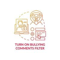 Turning on bullying comments filter concept icon. Offensive, rude content detection idea thin line illustration. Anti-bullying option on social media. Vector isolated outline RGB color drawing