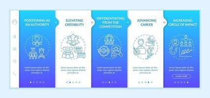 Personal branding tasks onboarding vector template. Responsive mobile website with icons. Web page walkthrough 5 step screens. Brand creation color concept with linear illustrations