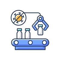Vaccine manufacturer RGB color icon. Pharmaceutical production. Automated medication distribution. Health care and medicine industry. Covid medicaiton. Isolated vector illustration