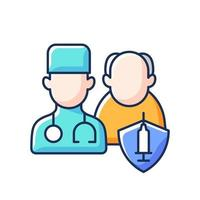 Vaccination priority list RGB color icon. Senior patient with doctor. Age group for vaccine injection. Hospital visit for elderly man. Health care and medicine. Isolated vector illustration