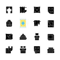 Textile products black glyph icons set on white space. Home wear. Bedroom, kitchen interior decoration. Household cloths. Domestic material item. Silhouette symbols. Vector isolated illustration