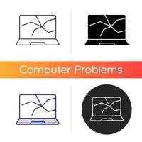 Broken screen icon. Cracked display. Crashed monitor. Smashed touch screen, electronic device repair service. Computer damage. Linear black and RGB color styles. Isolated vector illustrations