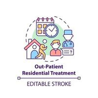 Out patient residential treatment concept icon. Rehabilitation types. Special disease treatment. Patients abstract idea thin line illustration. Vector isolated outline color drawing. Editable stroke