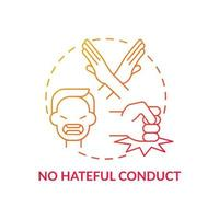 No hateful conduct concept icon. Social media safety idea thin line illustration. Tackling online hate speech. Fighting with discrimination and racism. Vector isolated outline RGB color drawing