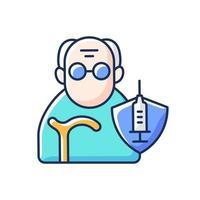 Vaccination of elderly people RGB color icon. Priority list age group. Senior man for vaccine injection. Protection of elder patient. Old person. Health care and medicine. Isolated vector illustration