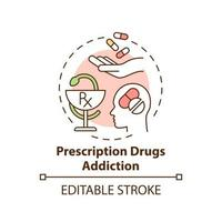 Prescription drugs addiction concept icon. Addiction types. Dangerous health care problems. Consuming drugs abstract idea thin line illustration. Vector isolated outline color drawing. Editable stroke