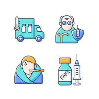 Covid spread prevention RGB color icons set. Vaccine distribution. Senior patient immunization. Fever symptom, false drug. Healthcare and medicine. Clinical treatment. Isolated vector illustrations