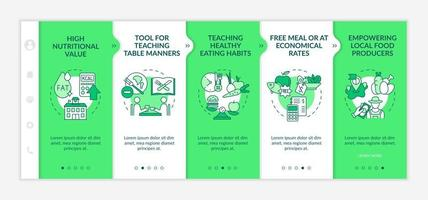 School meal requirements onboarding vector template. Responsive mobile website with icons. Web page walkthrough 5 step screens. High nutritional value color concept with linear illustrations