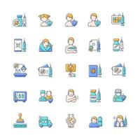 Vaccination and covid passport RGB color icons set. Vaccine distribution. Patient immunization. Virus treatment for different age groups. Health care and medicine. Isolated vector illustrations