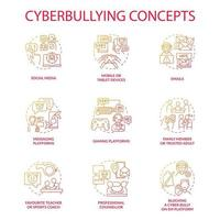 Cyberbullying concept icons set. Harassing people online idea thin line RGB color illustrations. Messaging, gaming platforms. Favourite teacher, sports coach. Vector isolated outline drawings