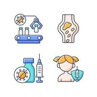 Vaccination RGB color icons set. Pharmaceutical manufacture. Drug production and distribution. Health care and medicine. Pharmacy production. Blood clots as side effect. Isolated vector illustrations