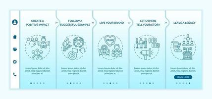 Personal brand rules onboarding vector template. Responsive mobile website with icons. Web page walkthrough 5 step screens. Self influencer promotion color concept with linear illustrations