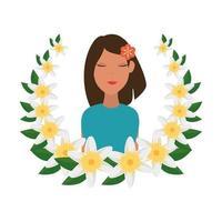Bella mujer con flor en el pelo y guirnalda floral vector