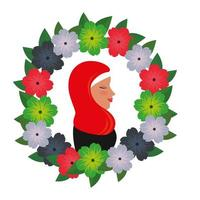 profile of islamic woman with traditional burka in floral wreath vector