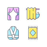 Conjunto de iconos de colores rgb de artículos textiles para el hogar. Persianas. cortina de baño. batas de baño. alfombra del piso. ilustraciones vectoriales aisladas. material productos para el hogar colección de dibujos de líneas rellenas simples vector